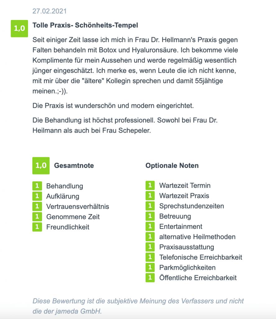 Bewertung einer Faltenbehandlung in Köln